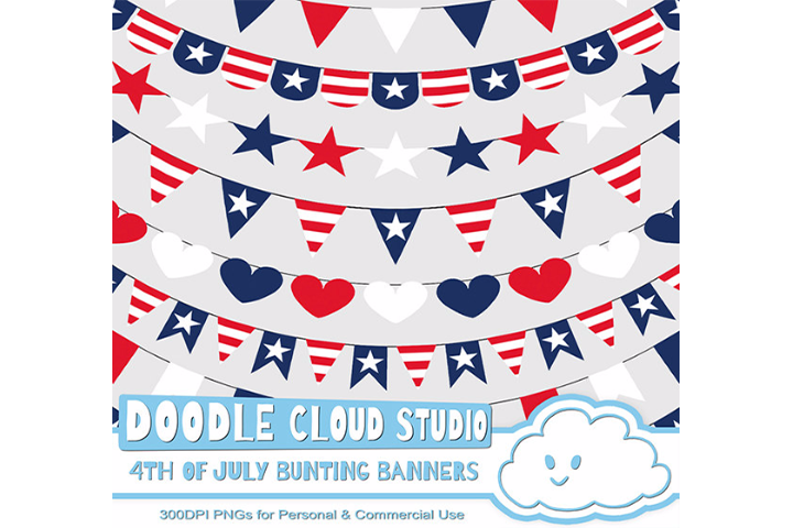4th of July bunting banners clipart, patriotic flags, stars & stripes banners, transparent Background, Instant Download, Commercial Use. example image 1