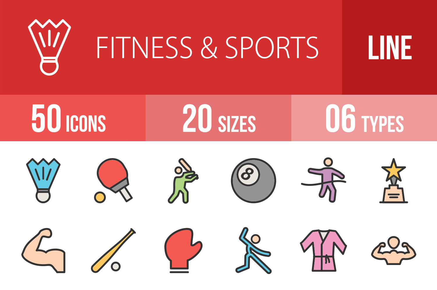 50 Fitness & Sports Linear Multicolor Icons example image 1
