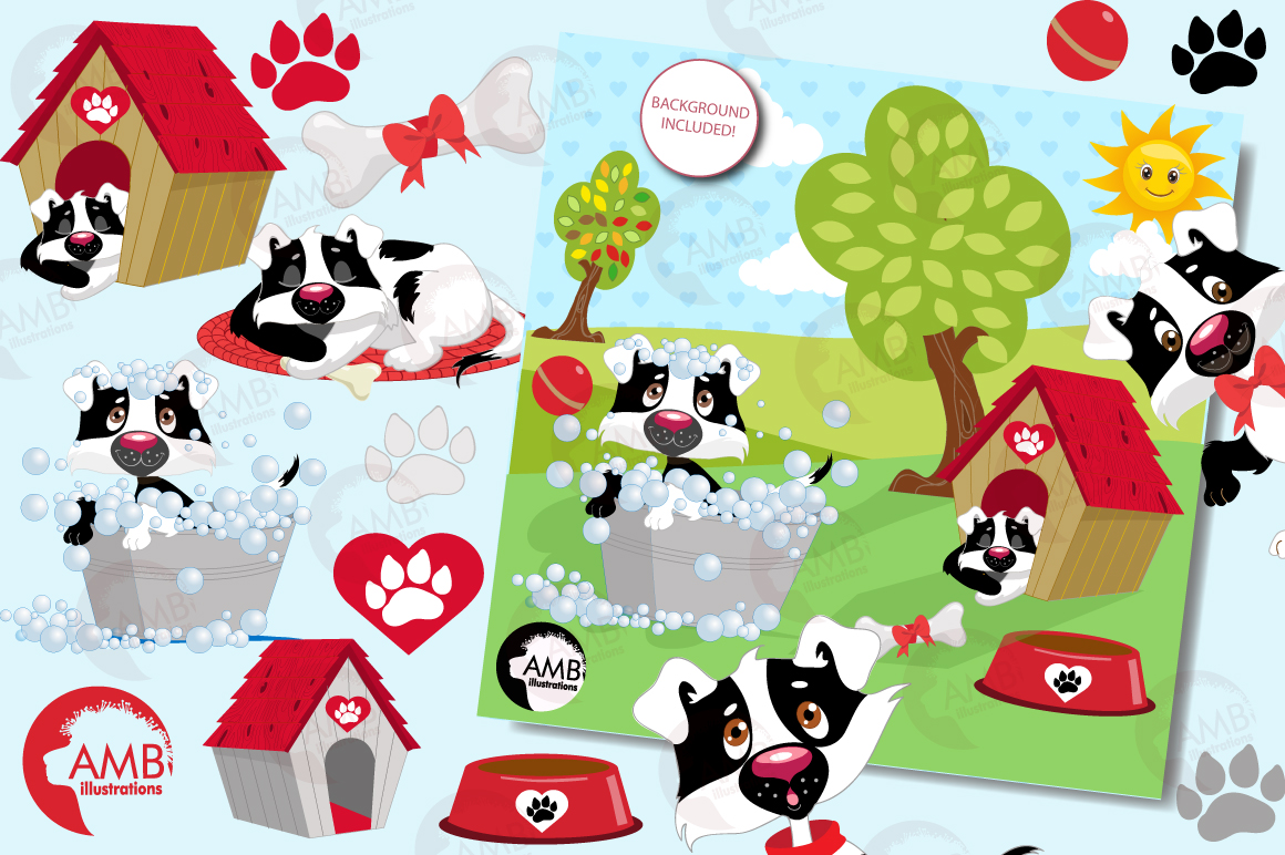 Day in a dog's life clipart, graphics, illustrations AMB-595 example image 4