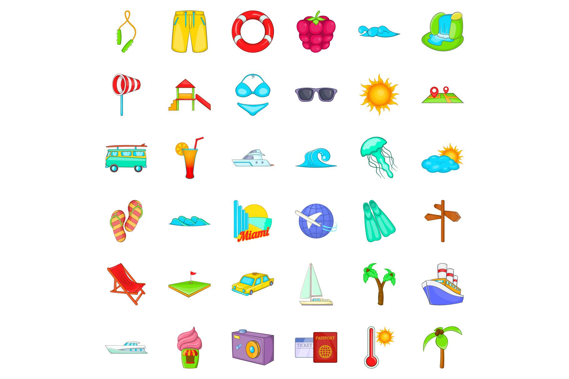 Small vacation icons set, cartoon style example image 1