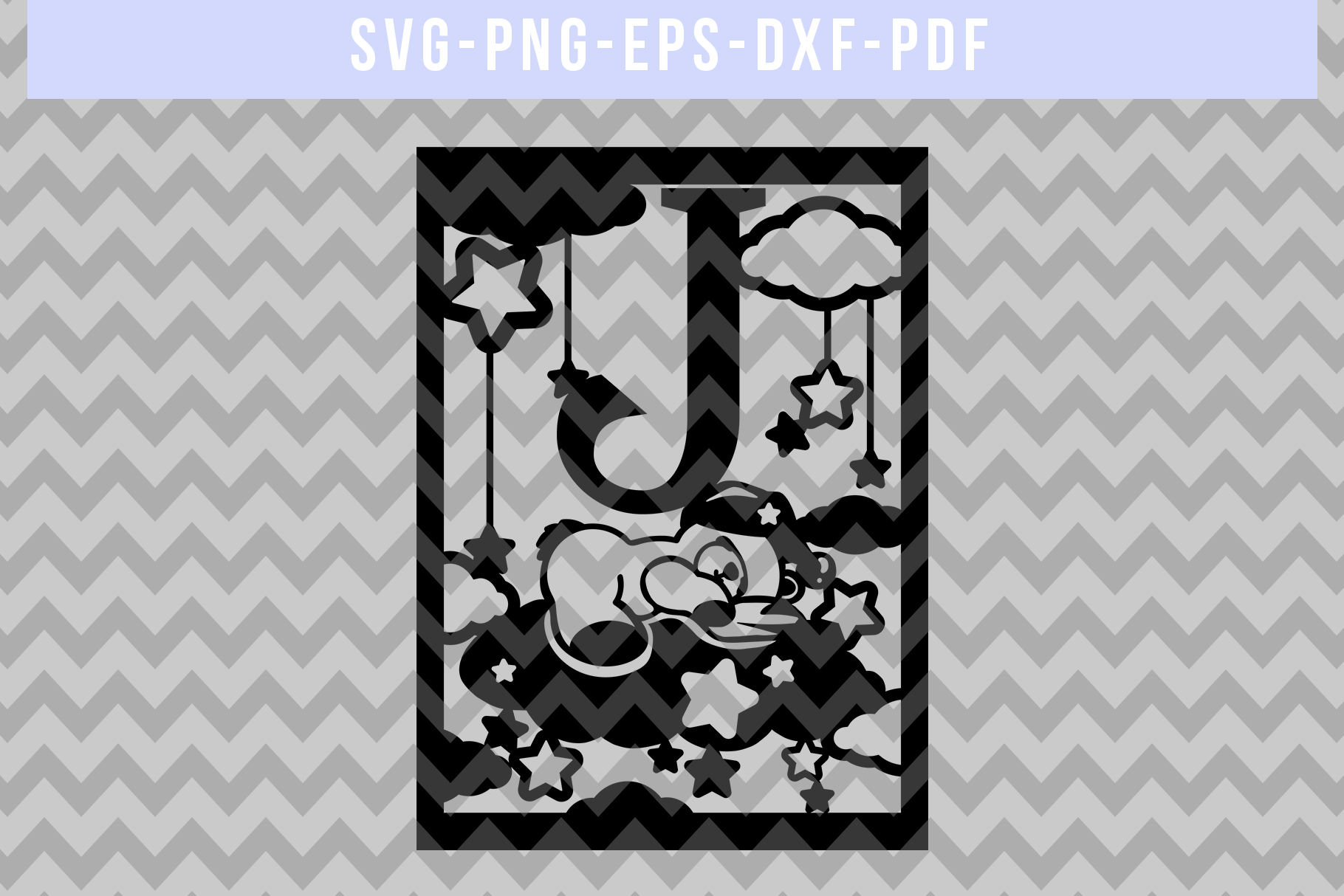 Nursery J Monogram Papercut Template, Kids Room Decor, DXF example image 4