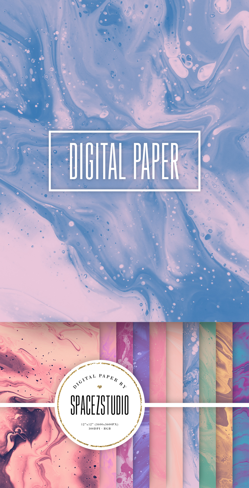Muted Pastel Ink Backgrounds - Mix Color Digital Paper Pack example image 6
