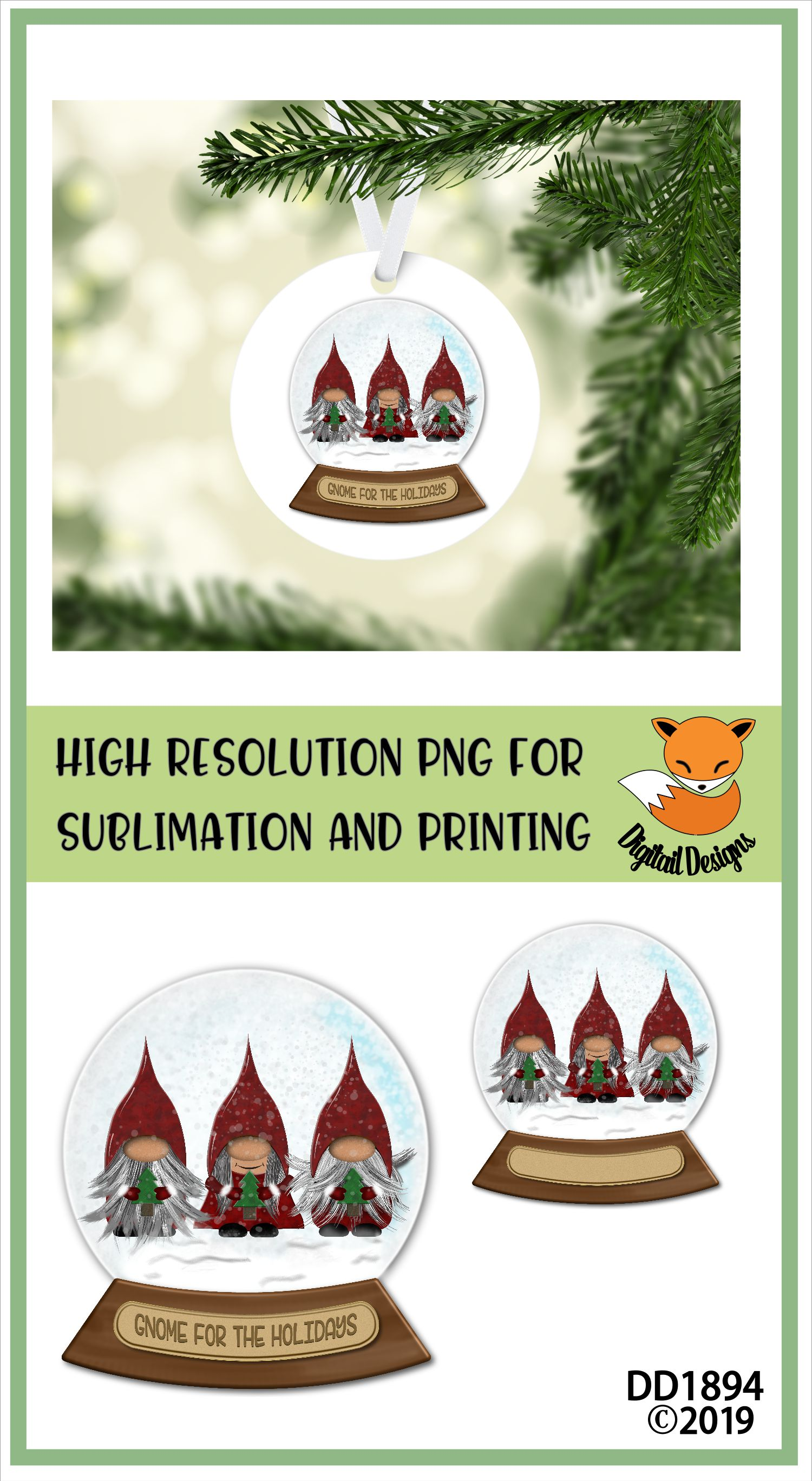 Christmas Nordic Gnome Trio Snowglobe Sublimation example image 2