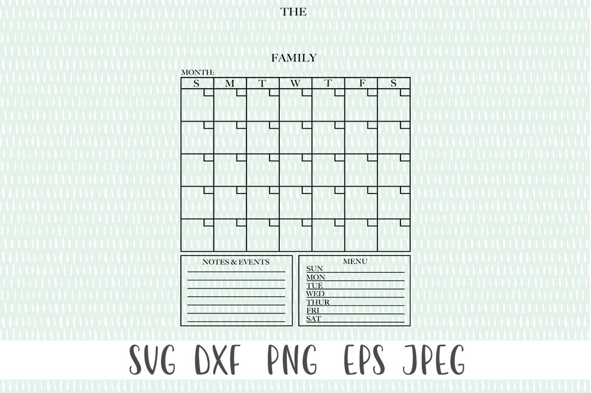 Customizable Family Calendar - Monthly Calendar SVG example image 3