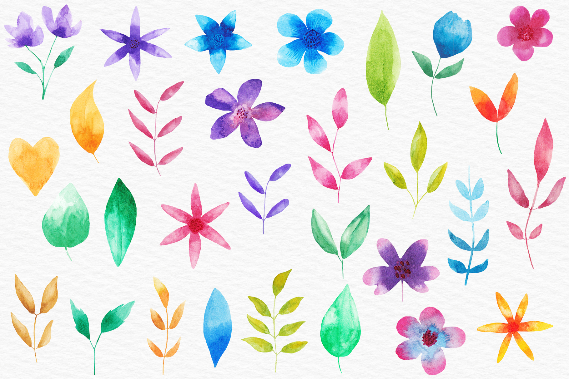 Watercolor Floral Clipart, Watercolor Flowers Illustrations example image 2