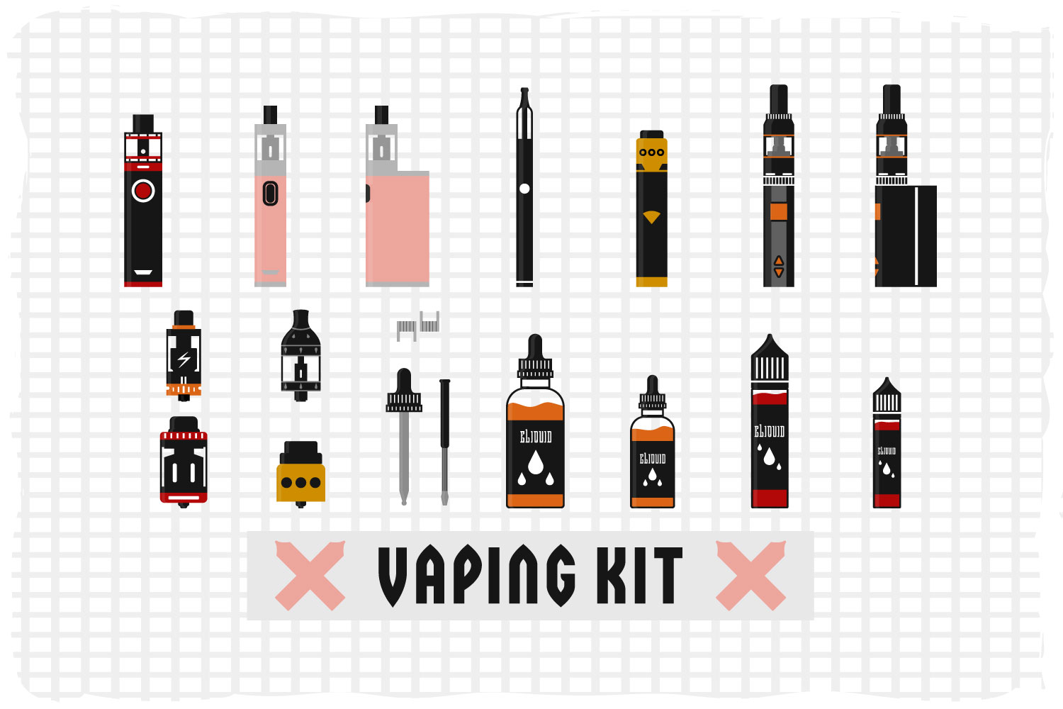 Flat vector illustration of a vaping kit example image 1