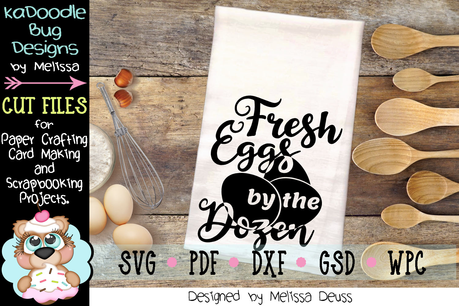 Fresh Eggs by the Dozen Vertical Cut File - SVG PDF DXF GSD example image 1
