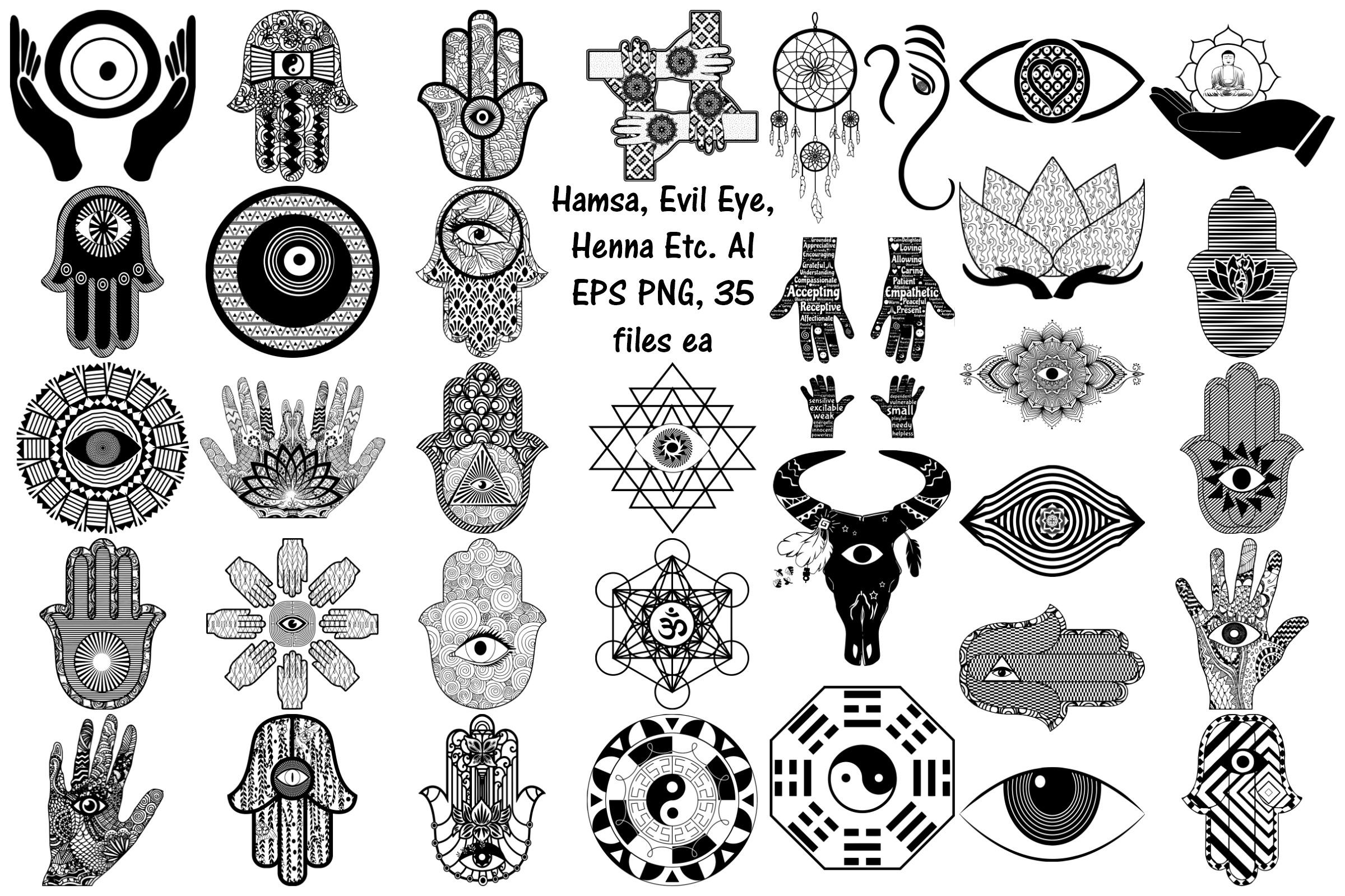 Hamsa Evil Eye Henna Etc Ai Eps Png Clip Art