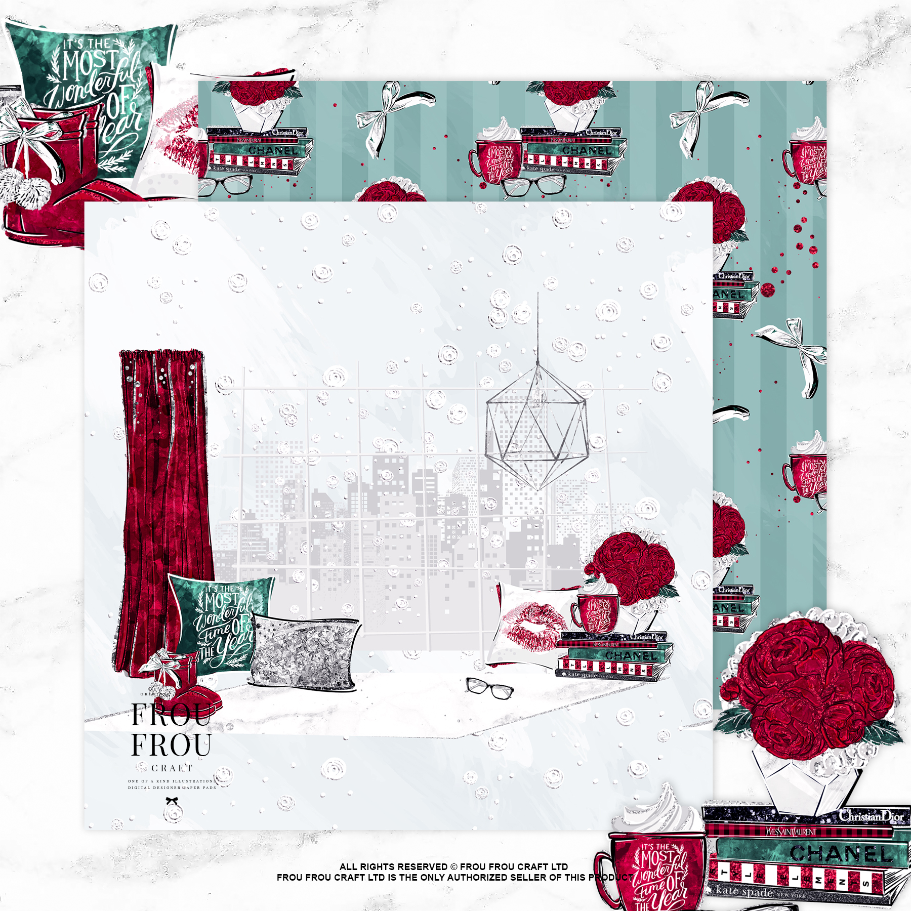 Cozy Winter Holiday Girl Reading Books Paper Pack example image 4