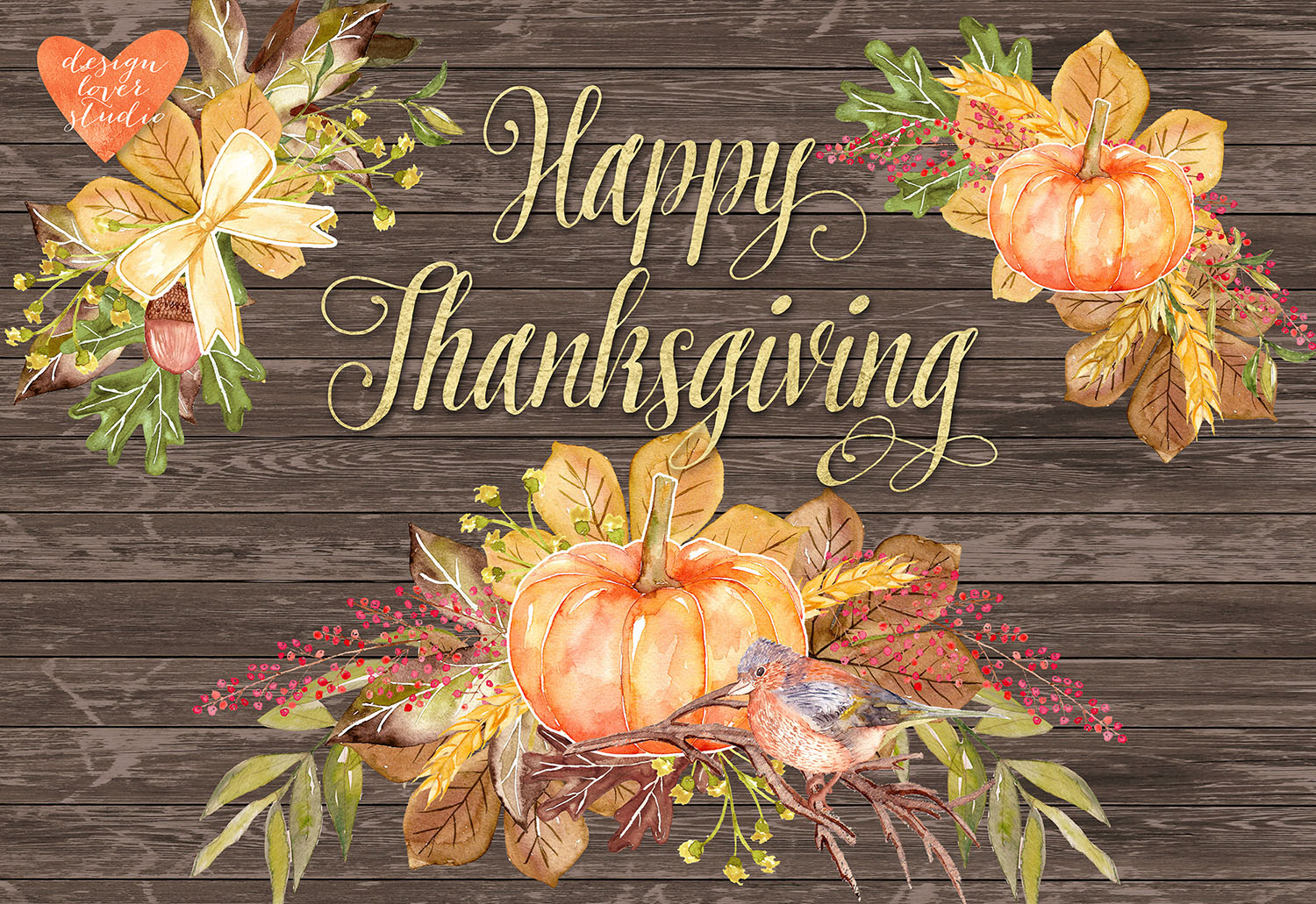 Watercolor Happy Thanksgiving cliparts example image 4