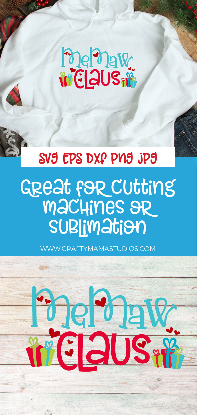 Christmas SVG, MeMaw Claus, Santa Claus Sublimation example image 3
