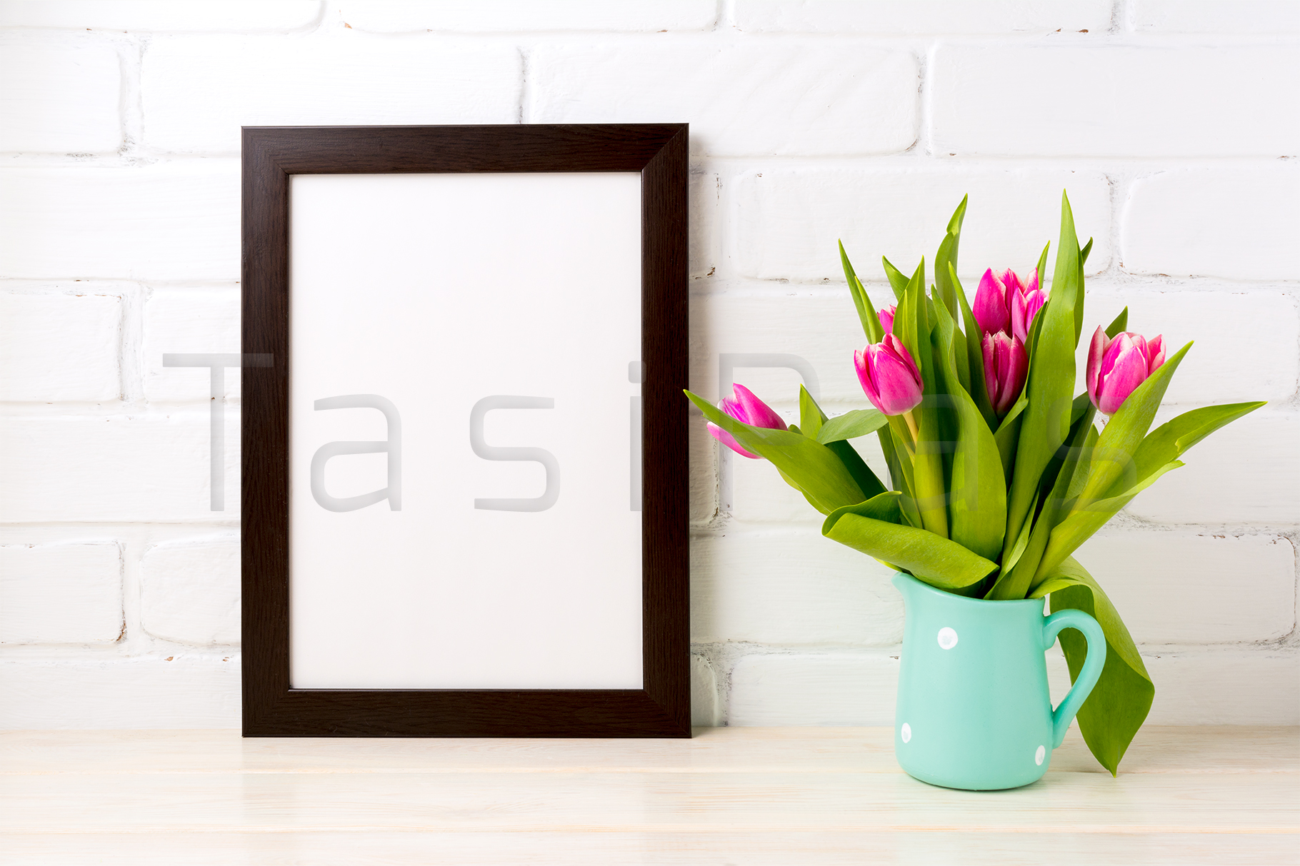 Black brown frame mockup with bright pink tulips bouquet example image 2