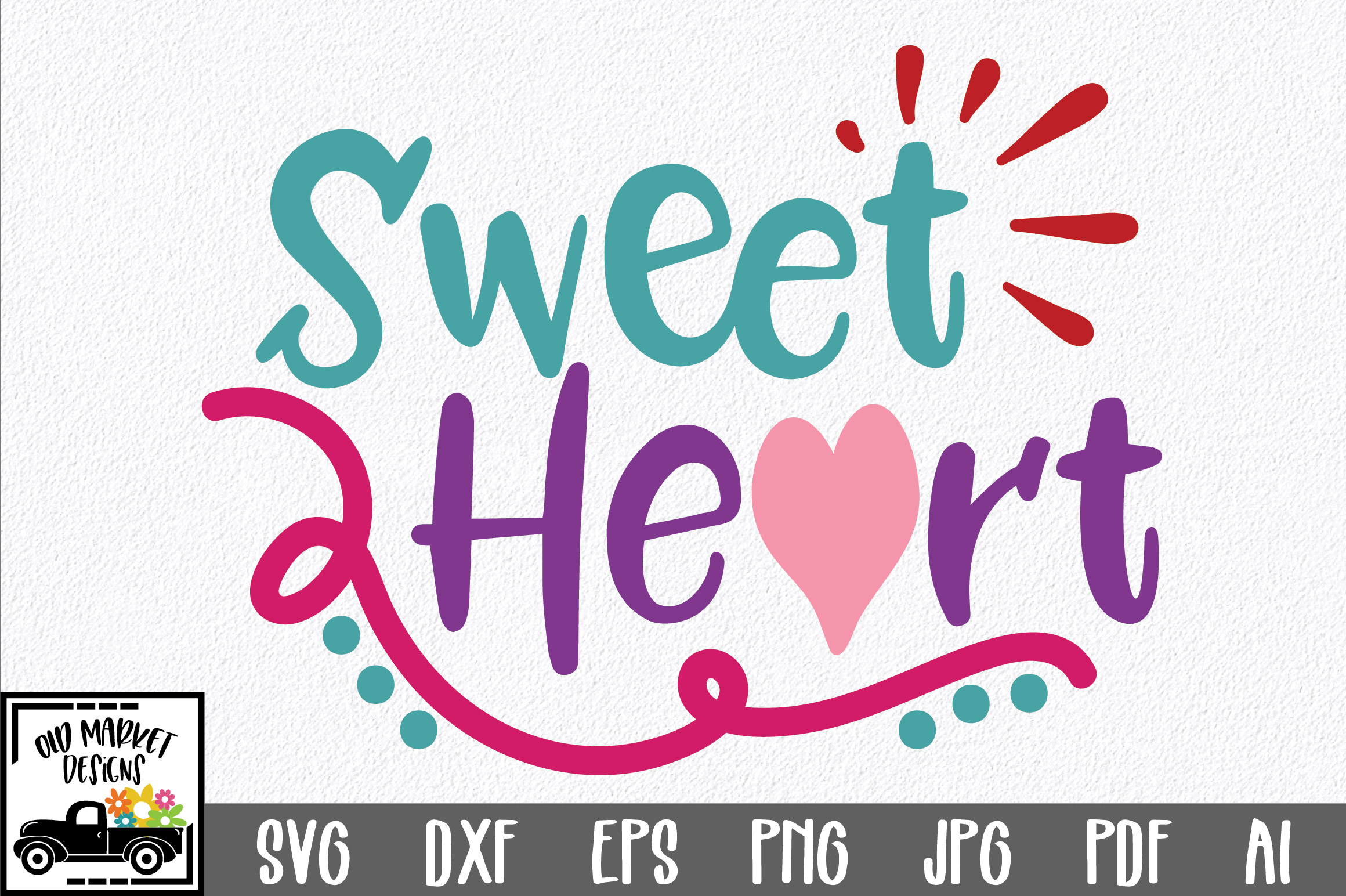 Sweet Heart SVG Cut File - Valentine SVG EPS DXF PNG PDF AI example image 1