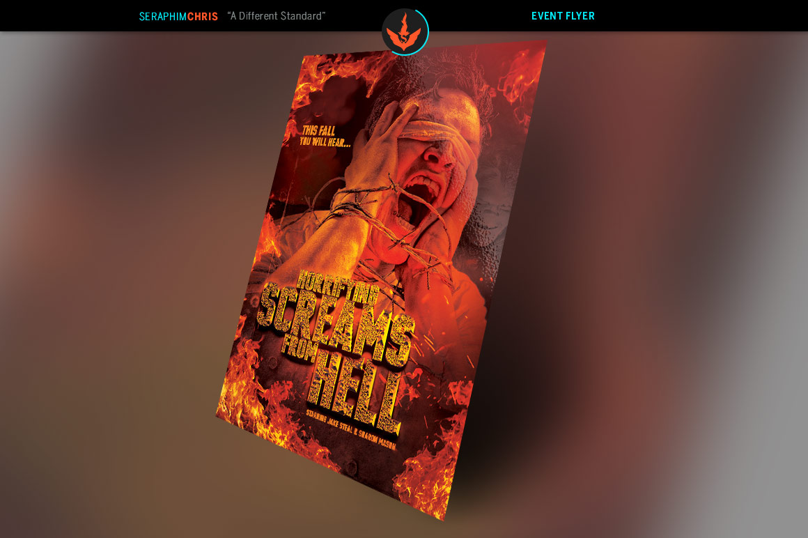 Screams from Hell Movie Poster ane Flyer Photoshop Template example image 2