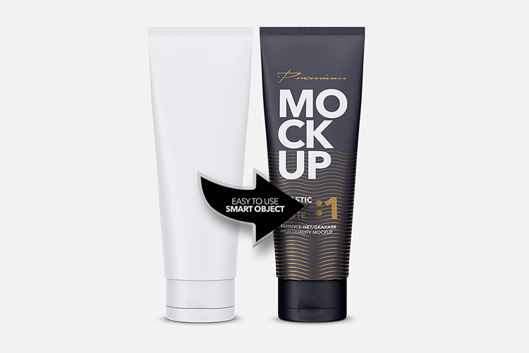 Glossy Plastic Cosmetic Tube Mockup - Front View - 01 example image 4