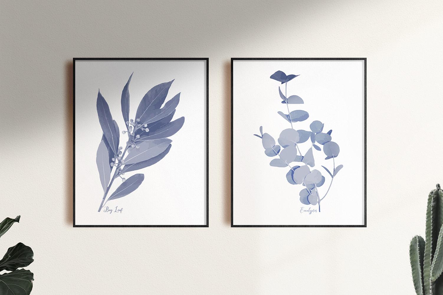 Pretty Indigo Blue Printable Kitchen Garden Herbs Art Prints example image 5