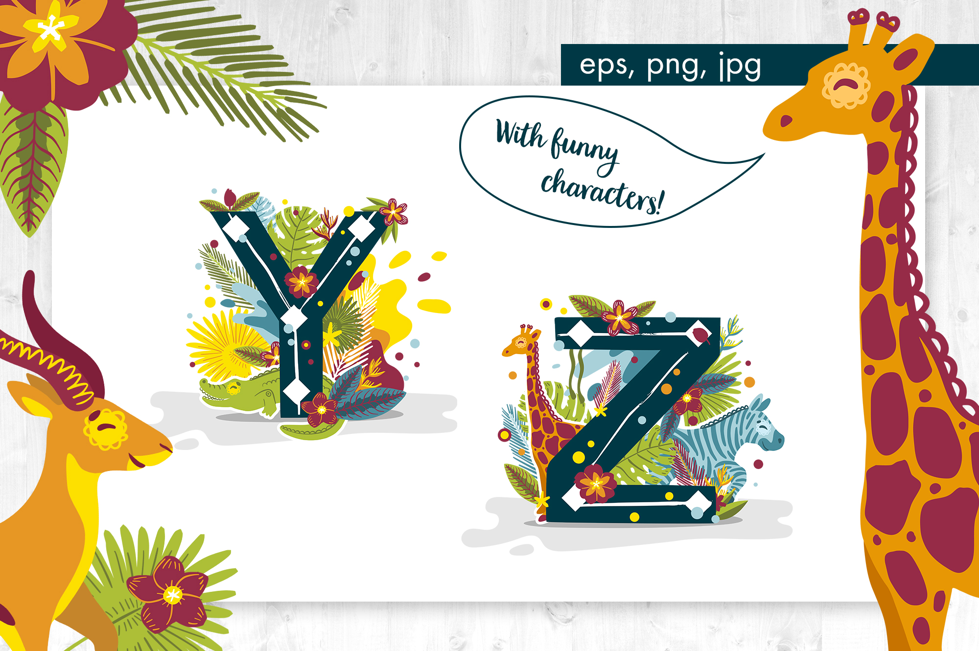 Tropical alphabet cartoon animals vector example image 6