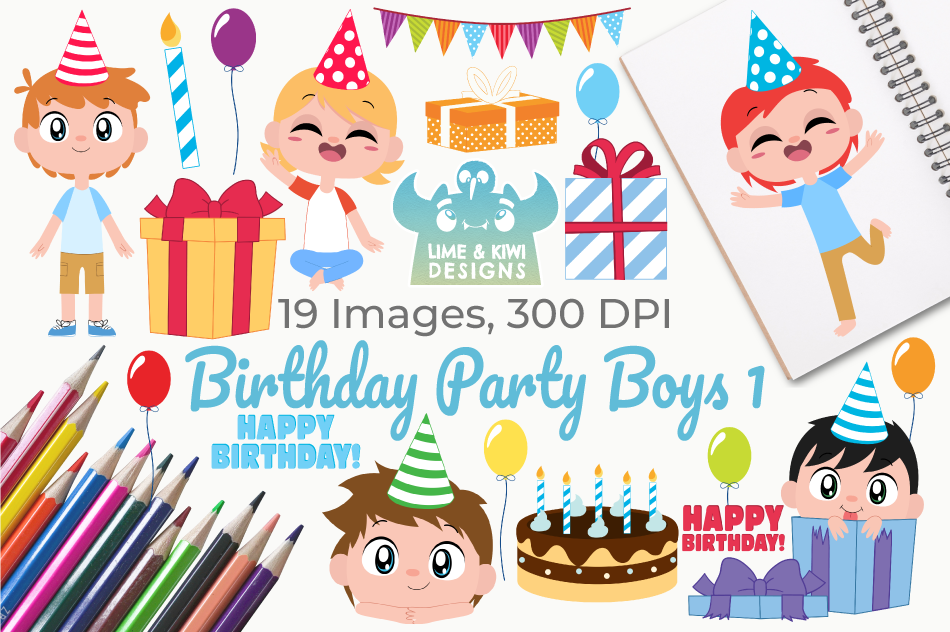 Birthday Party Boys 1 Clipart, Instant Download Vector Art example image 1