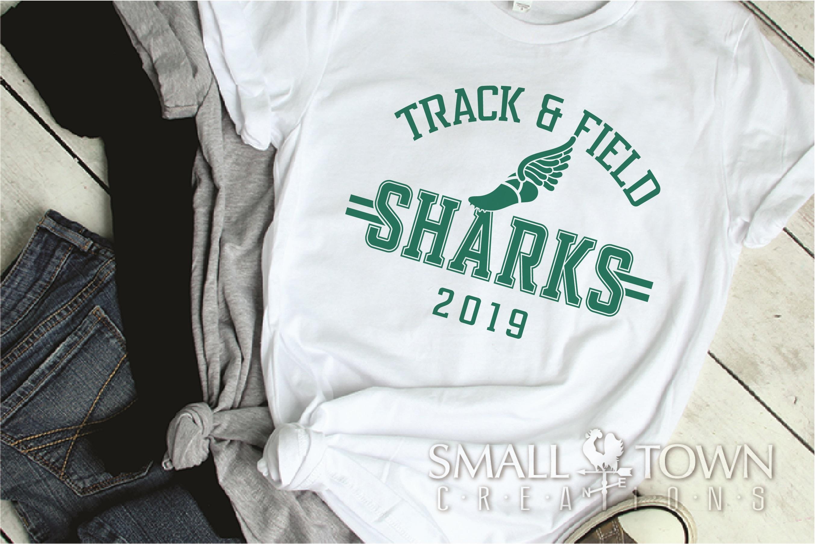 Sharks Track and Field, Shark mascot, PRINT, CUT, DESIGN example image 2