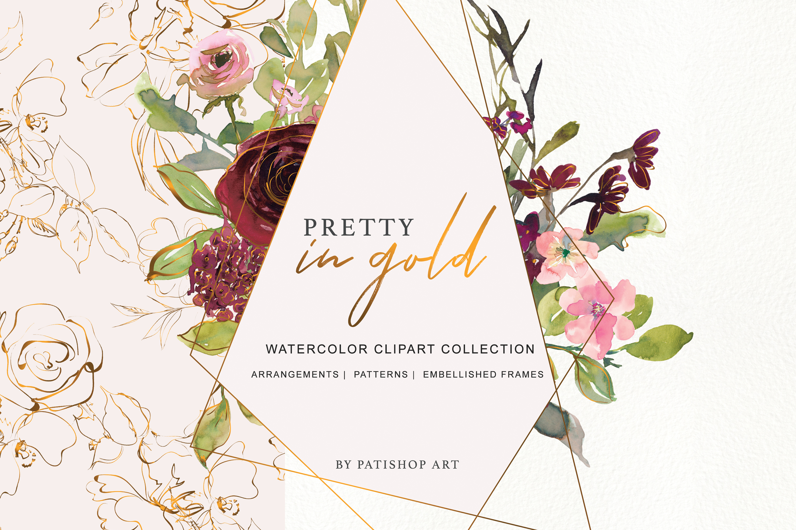 Watercolor Burgundy Blush and Gold Floral Bouquet Clipart example image 1