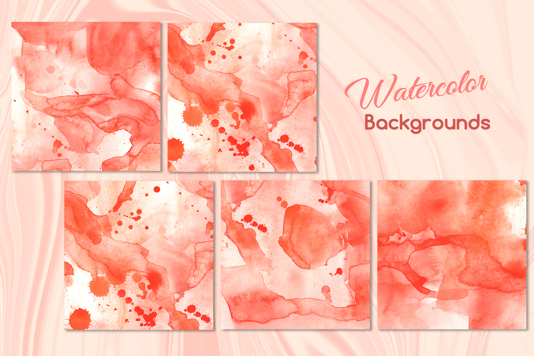 Living coral attributes set Watercolor png example image 10