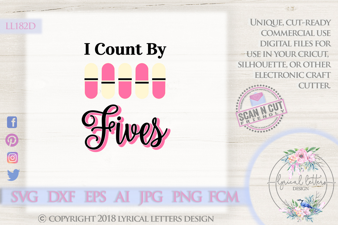 I Count by Fives Pharmacy SVG DXF Cut File LL182D example image 1