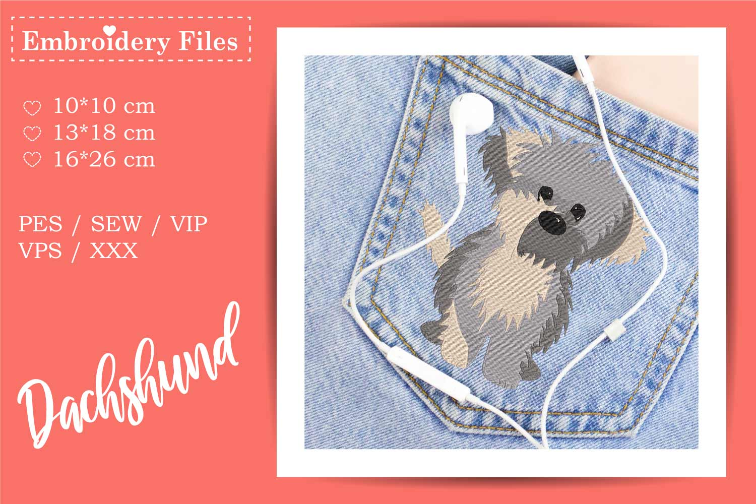 Cute little Dog - Embroidery File for Beginners example image 3