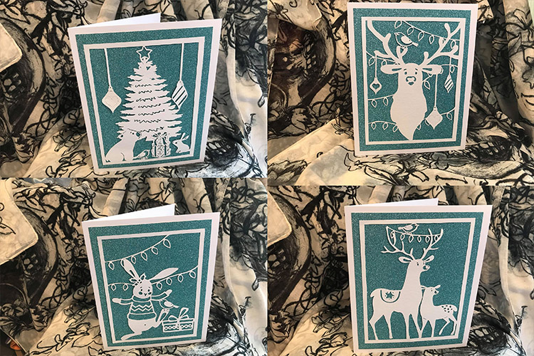 Bird and Bear's Xmas Collection x 8 papercutting templates example image 2