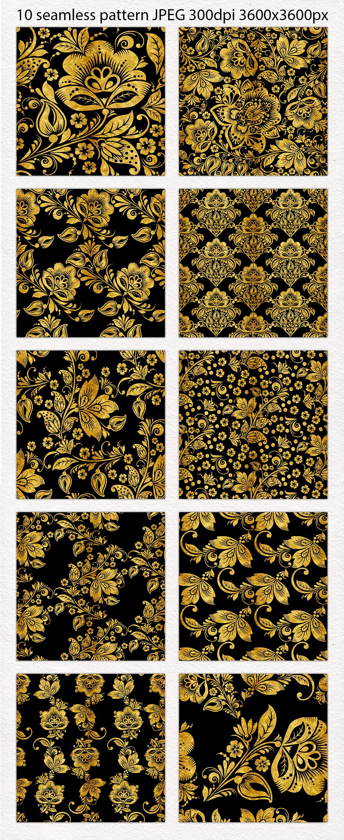 Floral gold seamless pattern. Hohloma. example image 2