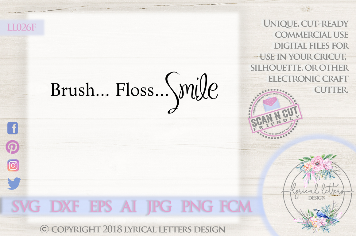 Brush Floss Smile Bathroom Sign Quote SVG DXF LL026F example image 1