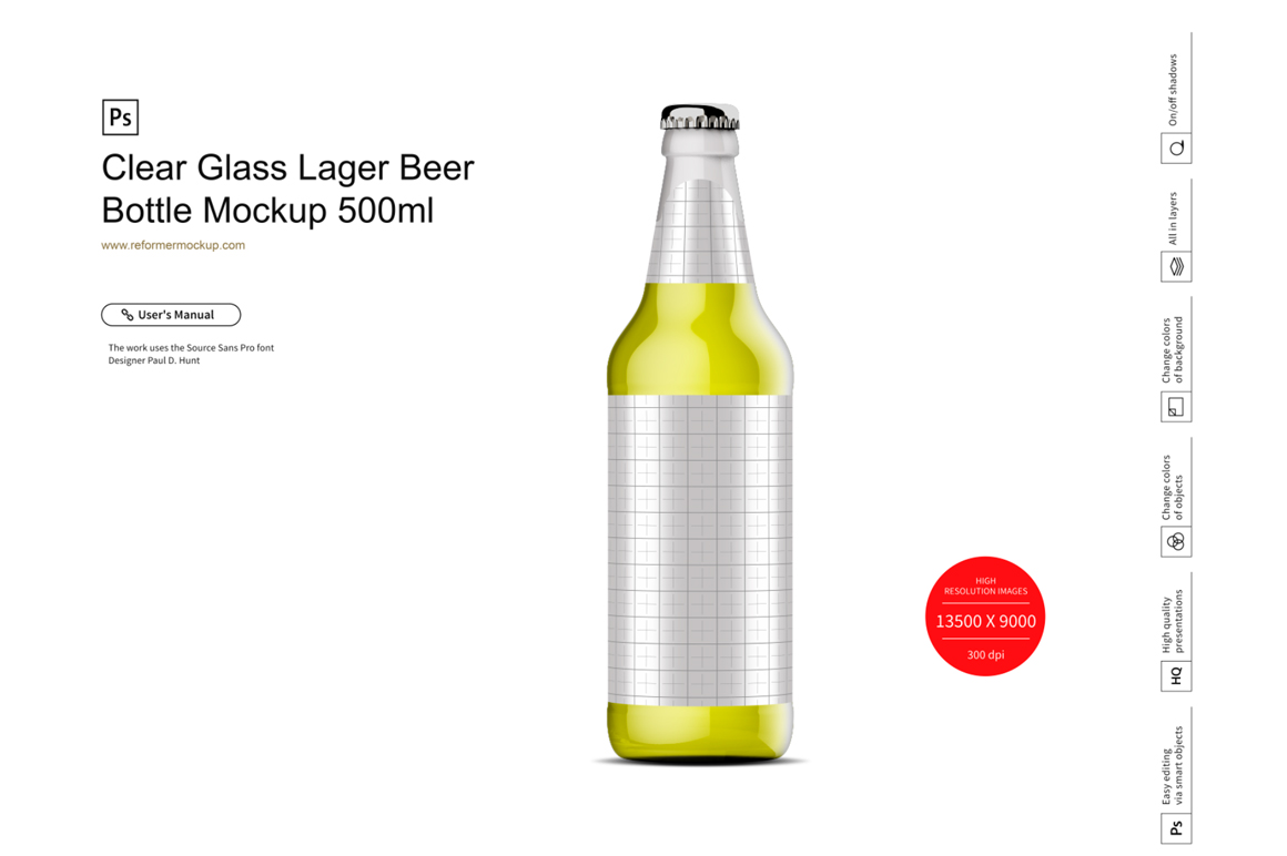 Clear Glass Lager Beer Bottle Mockup 500ml example image 2