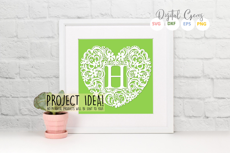 Letter H paper cut design. SVG / DXF / EPS / PNG files example image 2