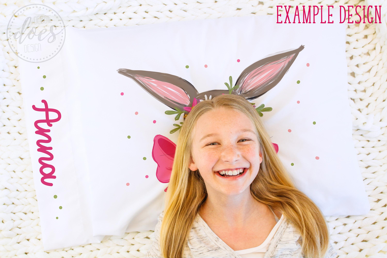 White Pillowcase Mockup with Girl| Smart Object Mock-Up example image 2