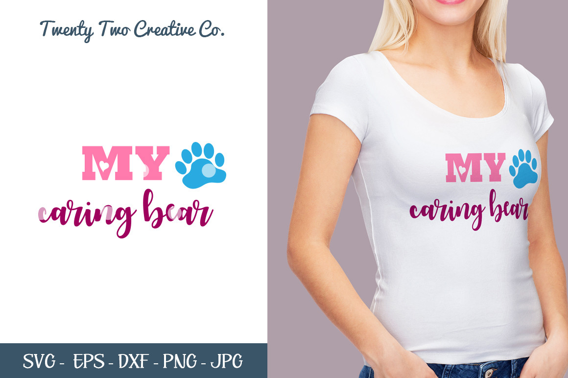 My Caring Bear Cut File - Love SVG, DXF, PNG, EPS, JPG example image 1
