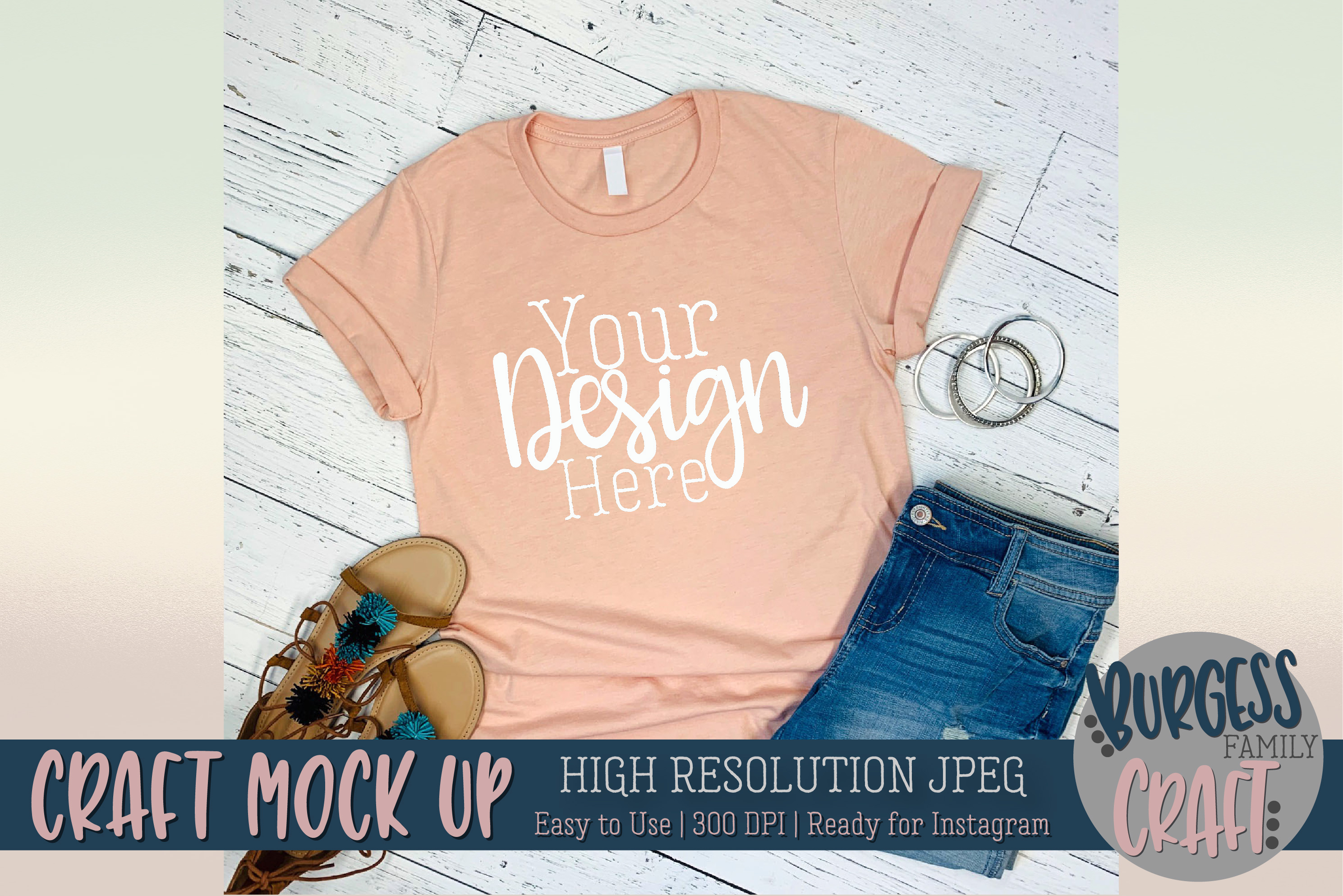 Peach t-shirt 3001 Craft mock up | High Res JPEG example image 1
