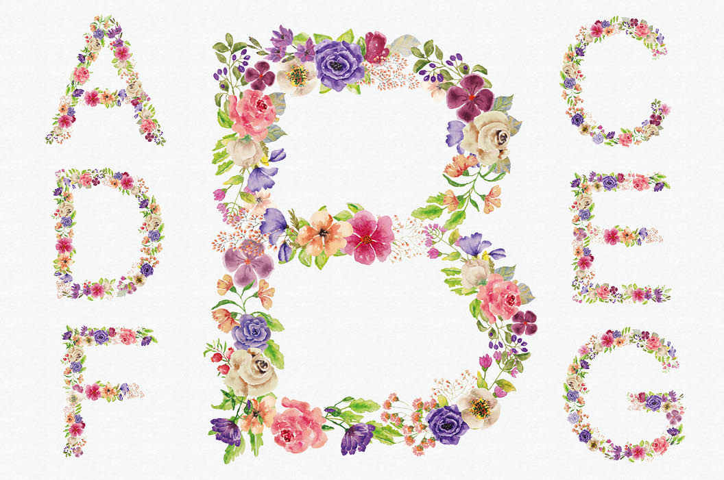 Complete alphabet in mixed watercolor flowers example image 2