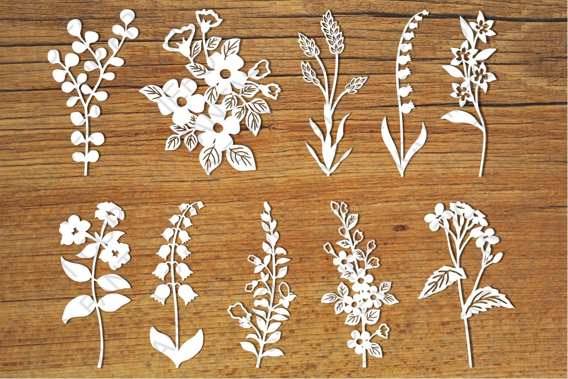 Wildflowers set 2 SVG files for Silhouette and Cricut. example image 1