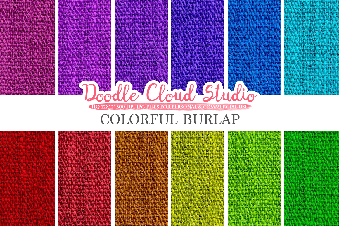 Colorful Burlap Fabric digital paper pack, Colorful Backgrounds, Burlap linen printables, Instant Download for Personal & Commercial Use example image 1