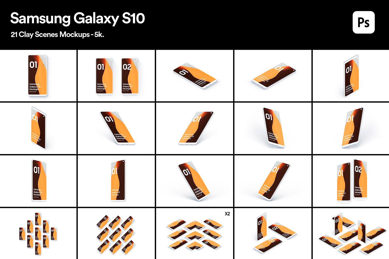 Samsung S10 - 21 Clay Mockups - 5K - PSD example image 2