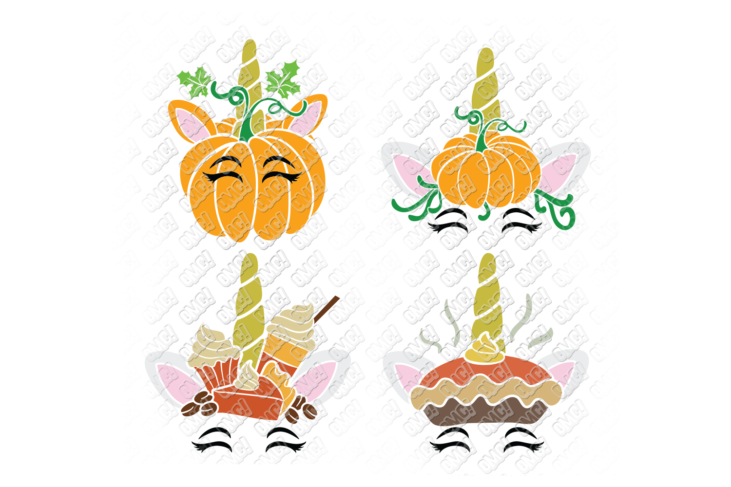 Unicorn Thanksgiving SVG Pumpkin in SVG, DXF, PNG, EPS, JPEG example image 3