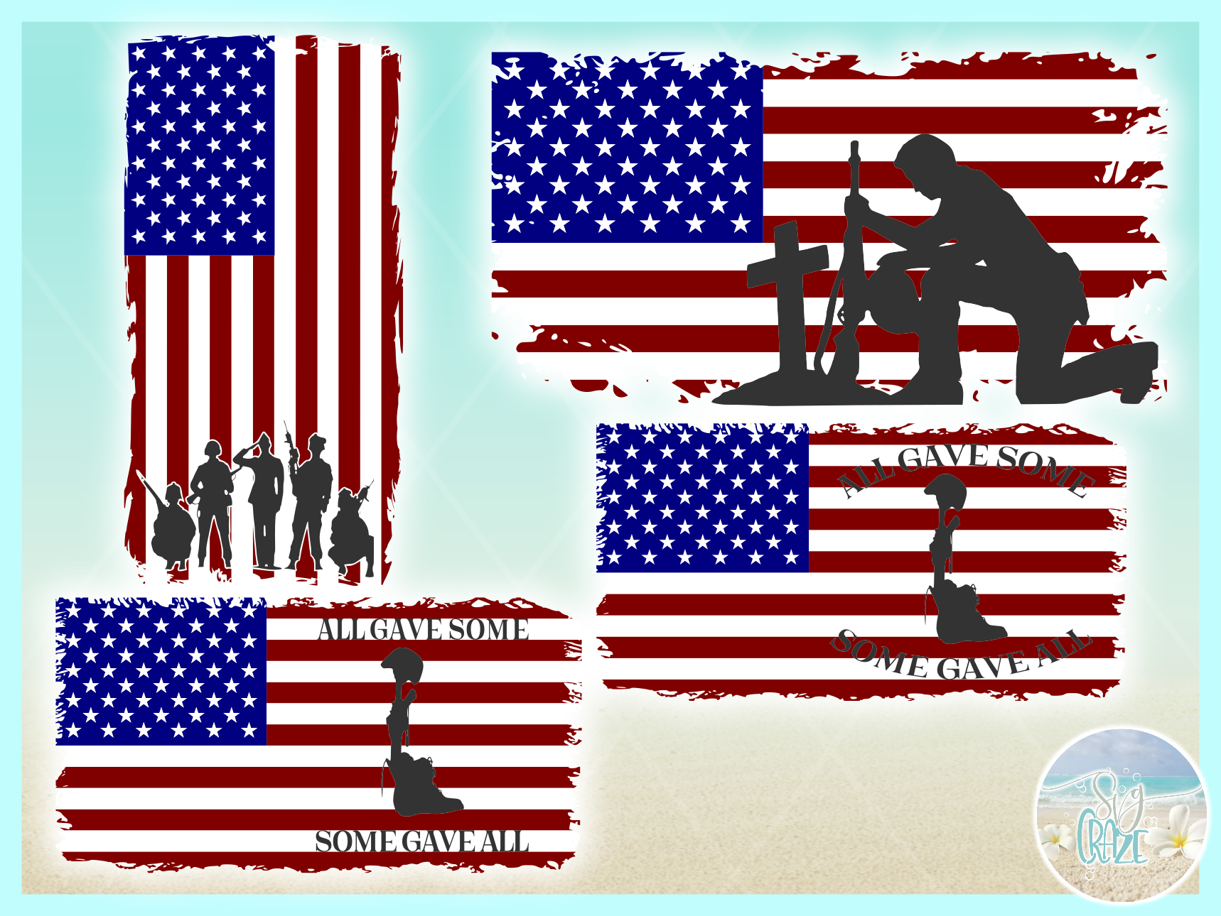 Usa American Flag Soldiers Salute Svg Dxf Eps Png Pdf Files example image 3
