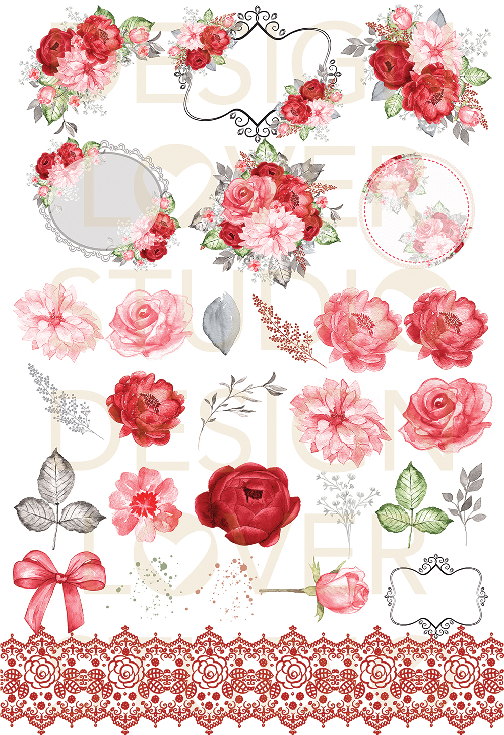 Watercolor RED ROMANCE design example image 2