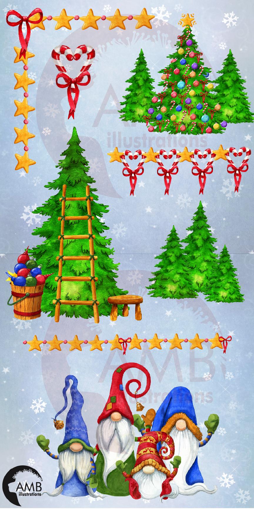 Christmas Gnomes, Scandinavian Gnomes, Watercolour Gnomes, example image 12