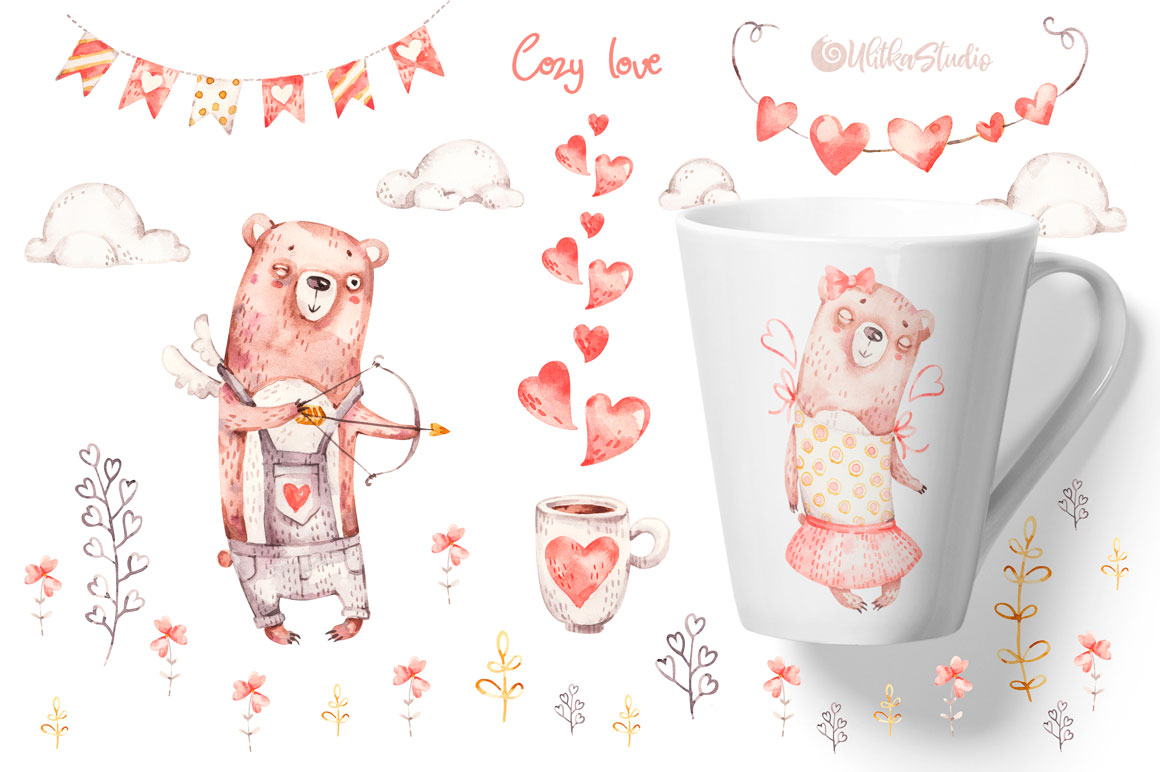 Cozy Valentines Day. Lovely bears watercolor collection example image 5