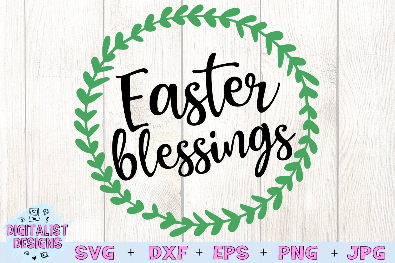 Easter Blessings SVG, Easter SVG, Wreath SVG example image 2