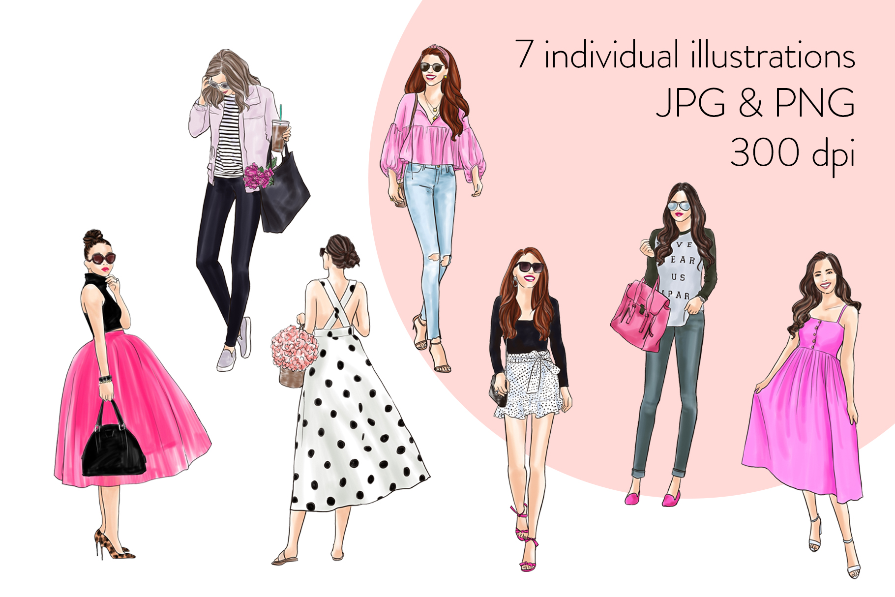 Fashion illustration clipart - Girls in Black & Pink - Light example image 2