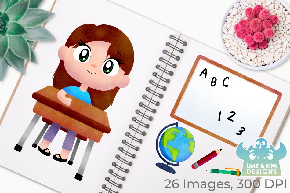 School Watercolor Clipart, Instant Download Vector Art example image 3
