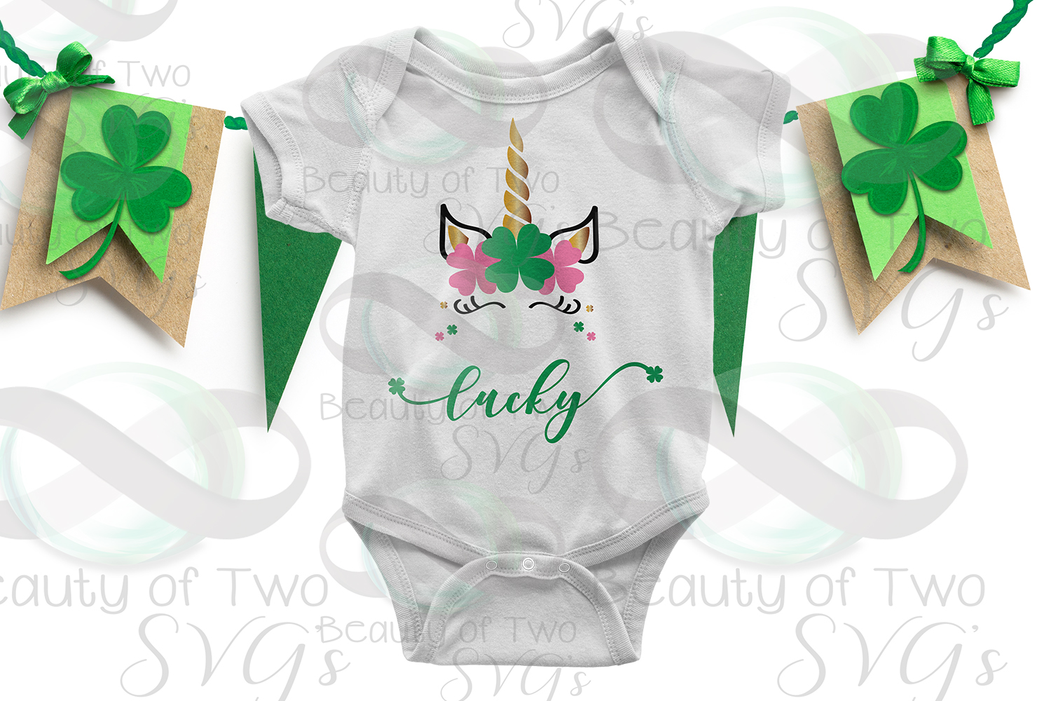 Lucky Unicorn St Patricks Day Svg & Png example image 2