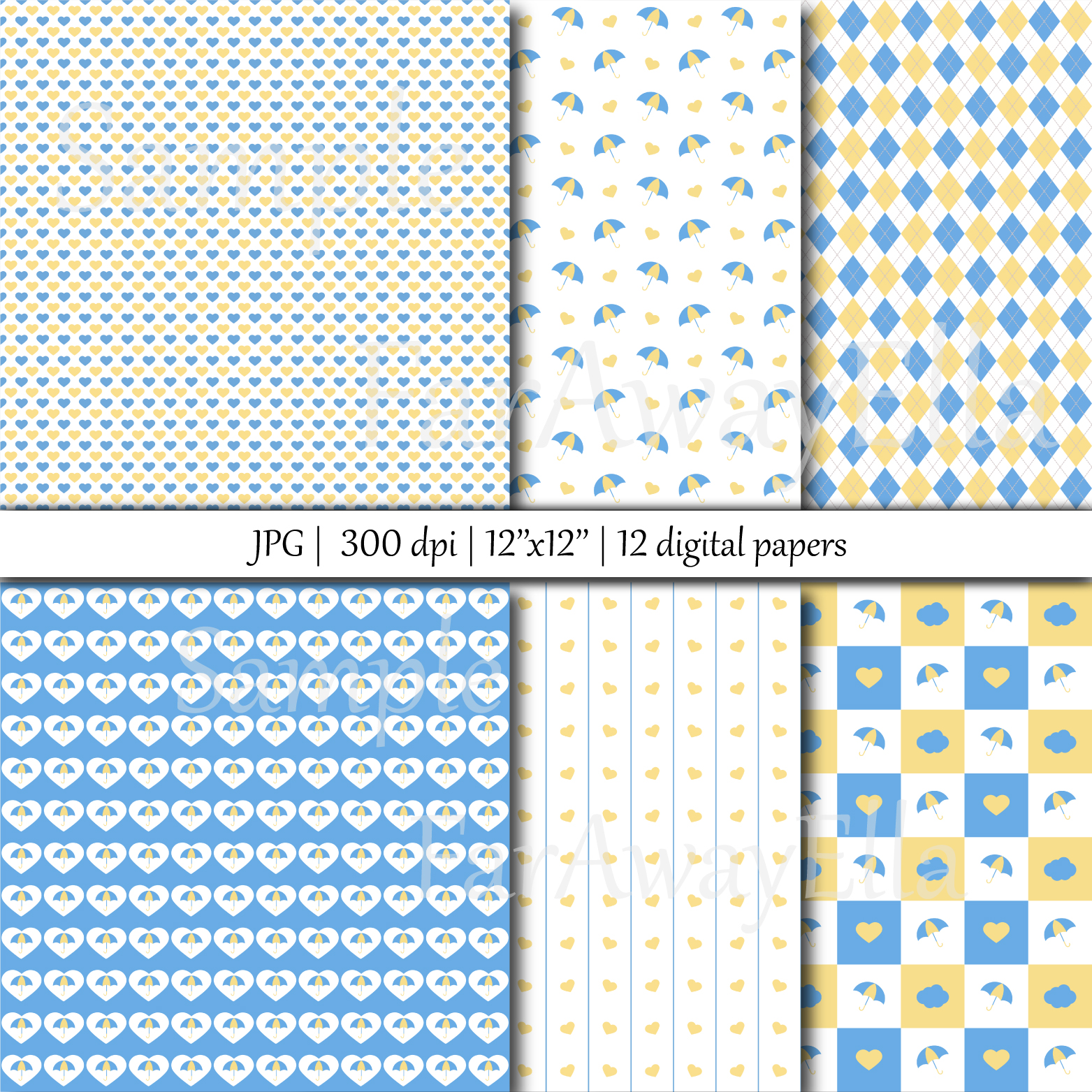 Baby shower blue and yellow JPG digital paper | Seamless example image 2