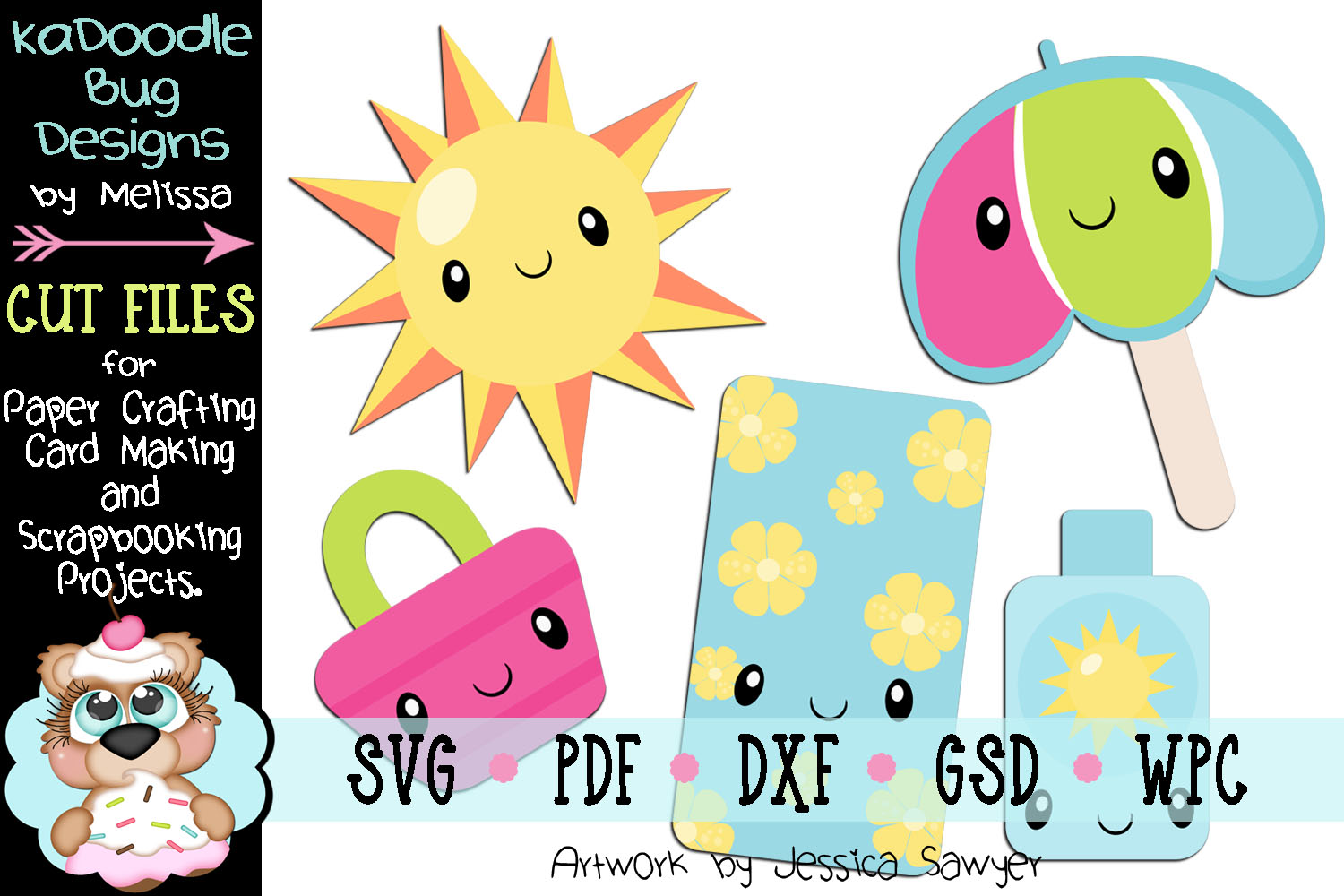 Kawaii Summer Cut File - SVG PDF DXF GSD WPC example image 1